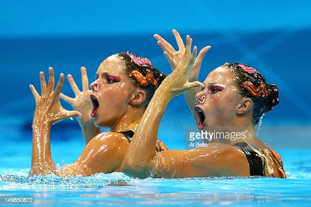 Sara Labrousse and Chloe Willhelm of France compete in the Women's Duets Synchronised Swimming Technical Routine on Day 9 of the London 2012 Olympic...