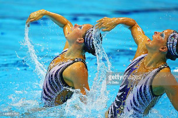 Sara Labrousse and Chloe Willhelm of France compete in the Women's Duets Synchronised Swimming Free Routine Preliminary on Day 10 of the London 2012...