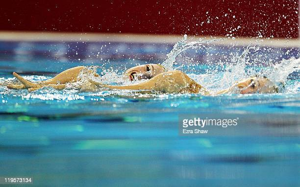Sara Labrousse and Chloe Willhelm of France competes in the Synchronized Swimming Duet Free Final during Day Seven of the 14th FINA World...