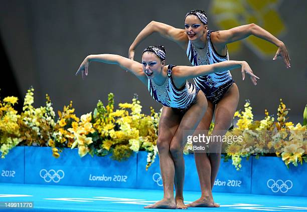 Sara Labrousse and Chloe Willhelm of France prepare to compete in the Women's Duets Synchronised Swimming Free Routine Preliminary on Day 10 of the...