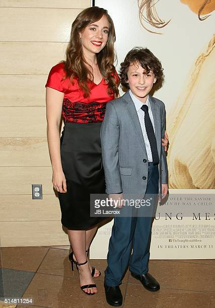 Sara Lazzaro and Adam Greaves Neal attend the screening of Focus Features' 'The Young Messiah' on March 10 2016 in Los Angeles California
