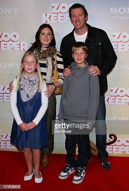 Sara Leonardi Glen McGrath Holly McGrath and James McGrath arrive at the Zookeeper Australian premiere on August 21 2011 in Sydney Australia