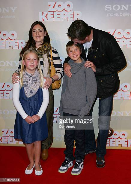 Sara Leonardi Glen McGrath Holly McGrath and James McGrath arrive at the 'Zookeeper' Australian premiere on August 21 2011 in Sydney Australia