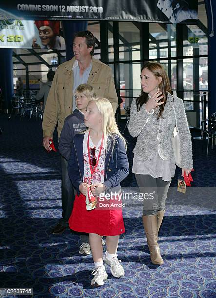Sara Leonardi Glenn McGrath and his children James and Holly arrive for the premiere of Toy Story 3 at IMAX Darling Harbour on June 20 2010 in Sydney...