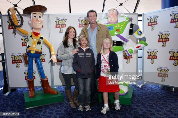 Sara Leonardi Glenn McGrath and his children James and Holly arrive for the premiere of 'Toy Story 3' at IMAX Darling Harbour on June 20 2010 in...