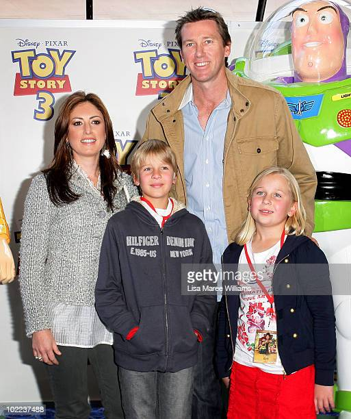 Sara Leonardi Glenn McGrath and his children James McGrath and Holly McGrath arrive for the premiere of 'Toy Story 3' at IMAX Darling Harbour on June...