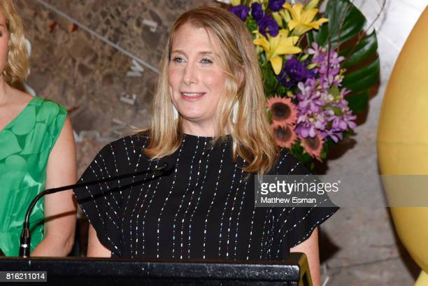 Sara Link President of Oath Foundation celebrates World Emoji Day at The Empire State Building on July 17 2017 in New York City