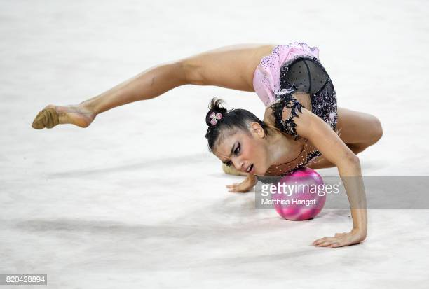 Sara Llana Garcia of Spain competes during the Rhythmic Gymnastics Women's Individual Ball Qualification of The World Games at Centennial Hall on...