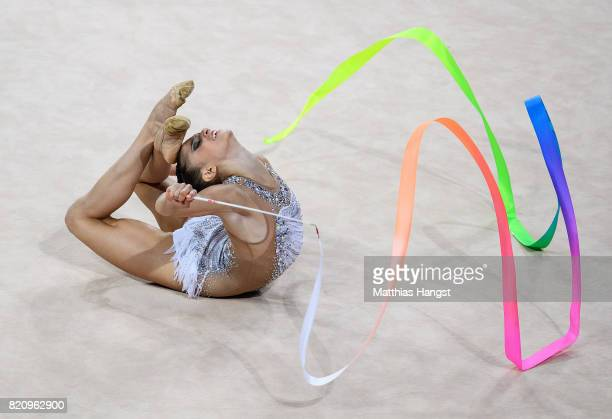 Sara Llana Garcia of Spain competes during the Rhythmic Gymnastics Women's Individual Ribbon Qualification of The World Games at Centennial Hall on...