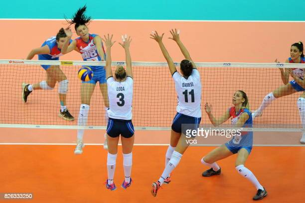 Sara Loda of Italy and Anna Danesi of Italy block the ball during the group match of 2017 Nanjing FIVB World Grand Prix Finals between Serbia and...