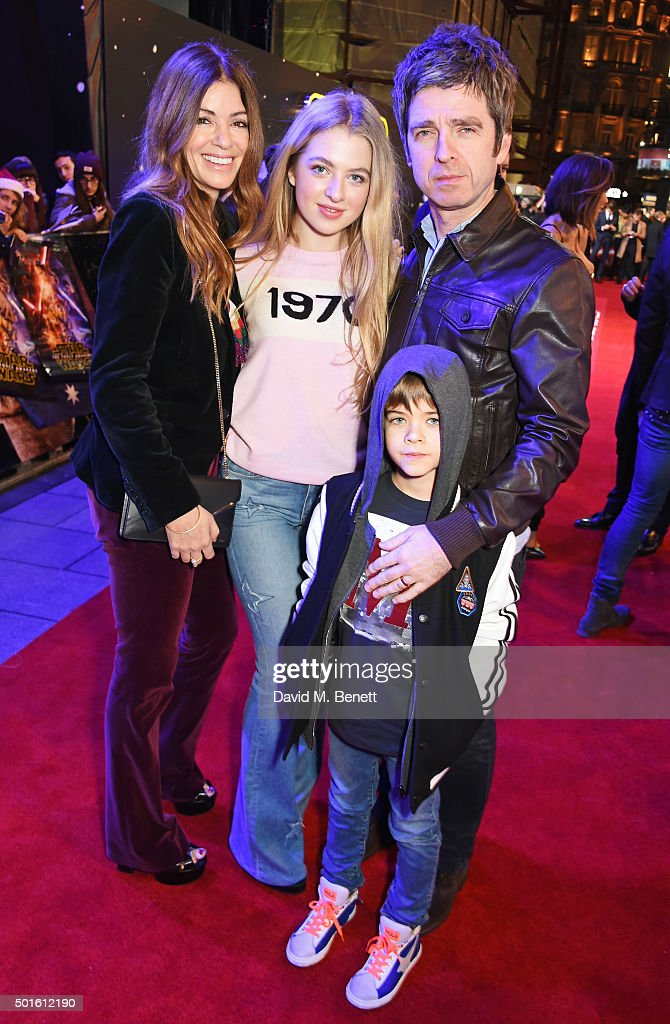 Sara Macdonald, Anais Gallagher, Noel Gallagher and Donovan Gallagher attend the European Premiere of 'Star Wars: The Force Awakens' in Leicester Square on December 16, 2015 in London, England.