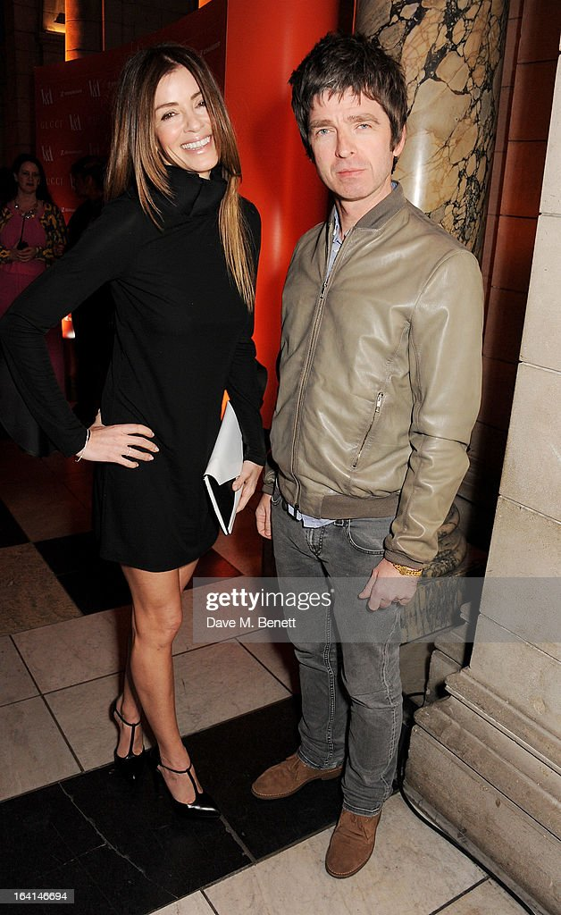 Sara MacDonald (L) and Noel Gallagher attend the private view for the 'David Bowie Is' exhibition in partnership with Gucci and Sennheiser at the Victoria and Albert Museum on March 20, 2013 in London, England.