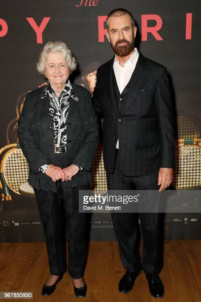 Sara Maclean Everett and Rupert Everett attend the UK Premiere of 'The Happy Prince' at the Vue West End on June 5 2018 in London England
