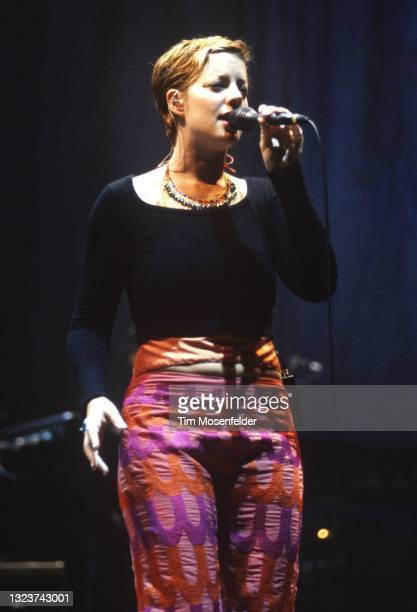 Sara McLachlan performs during the Lilith Fair at Shoreline Amphitheatre on June 24, 1998 in Mountain View, California.