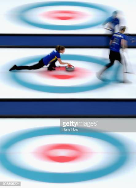 Sara McManus of Sweden delivers a stone during the Women's Gold Medal Game between Sweden and Korea on day sixteen of the PyeongChang 2018 Winter...