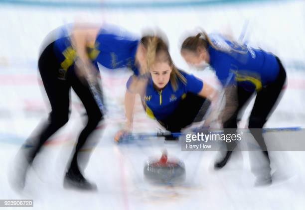 Sara McManus of Sweden throws a rock in the 6th end during the Women's Gold Medal Game between Sweden and Korea on day sixteen of the PyeongChang...