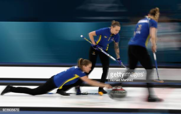 Sara McManus of Sweden throws a stone during the Women's Gold Medal Game between Sweden and Korea on day sixteen of the PyeongChang 2018 Winter...