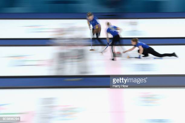 Sara McManus of Sweden throws delivers a stone during the Women's Gold Medal Game between Sweden and Korea on day sixteen of the PyeongChang 2018...
