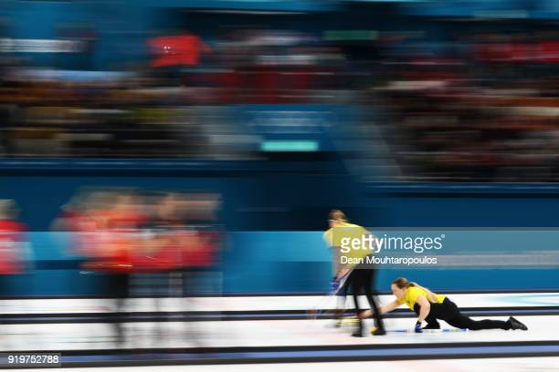 Sara McManus Sofia Mabergs Agnes Knochenhauer and Anna Hasselborg of Sweden competes during the Women Curling round robin session 7 on day nine of...