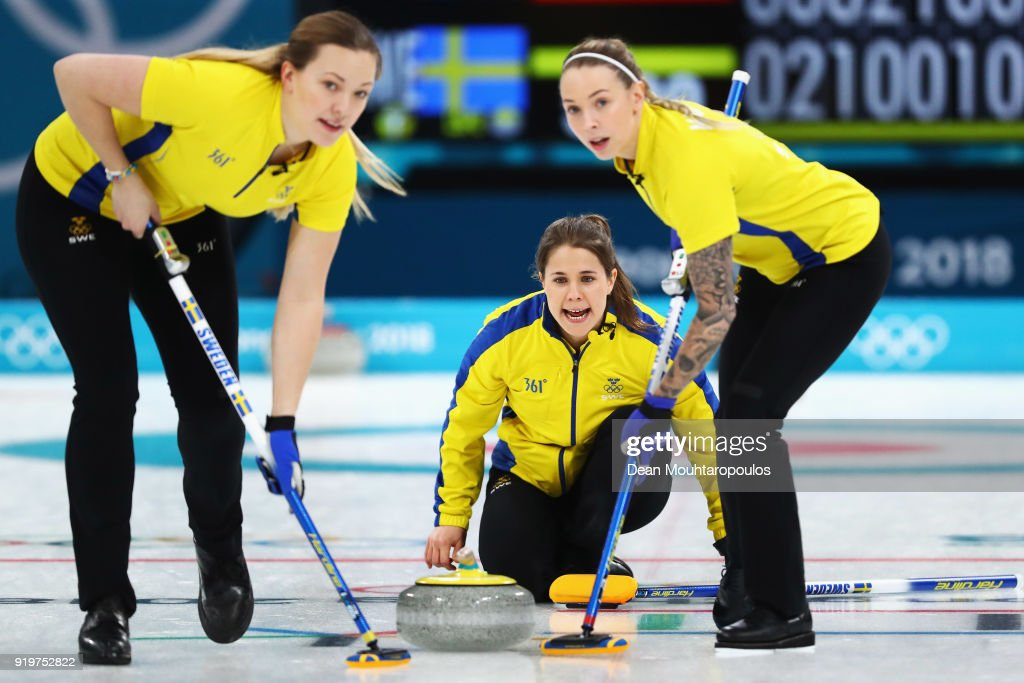 Sara McManus, Sofia Mabergs, Agnes Knochenhauer and Anna Hasselborg of Sweden competes during the Women Curling round robin session 7 on day nine of the PyeongChang 2018 Winter Olympic Games at Gangneung Curling Centre on February 18, 2018 in Gangneung, South Korea.