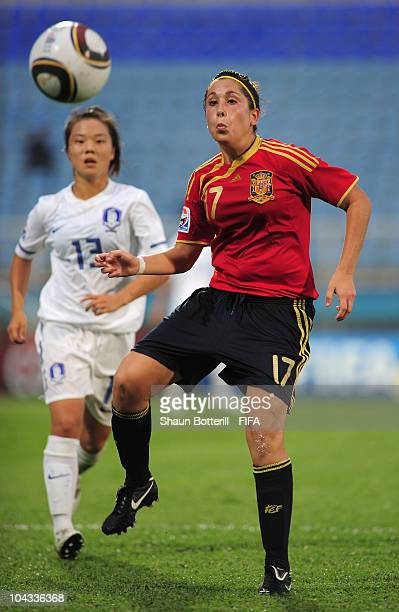 Sara Merida of Spain controls the ball during the FIFA U17 Women's World Cup Semi Final match between South Korea and Spain at the Ato Boldon Stadium...