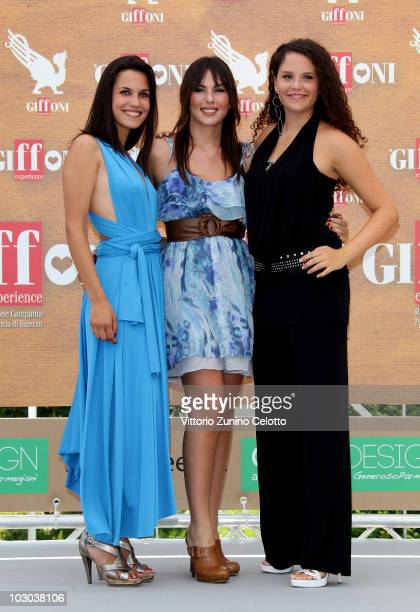Sara Mollaioli Micol Olivieri Giulia Luzi attend a photocall during the Giffoni Experience 2010 on July 22 2010 in Giffoni Valle Piana Italy