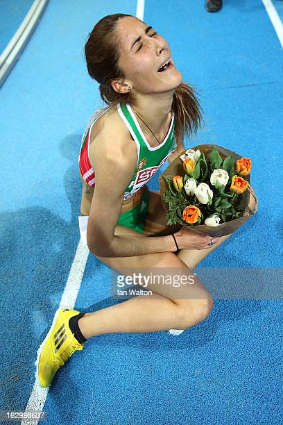 Sara Moreira of Portugal wins gold in the Women's 3000m Final during day three of European Indoor Athletics at Scandinavium on March 3 2013 in...