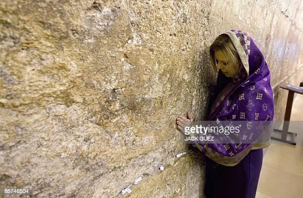 Sara Netanyahu the wife of incoming Israeli Prime Minister Benjamin Netanyahu prays at the Western Wall in Jerusalem Judaism holiest site on April 1...