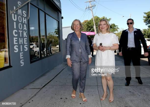 Sara Netanyahu the wife of Israeli Prime Minister Benjamin Netanyahu is met by Lucy Turnbull wife of Australia's Prime Minister Malcolm Turnbull as...
