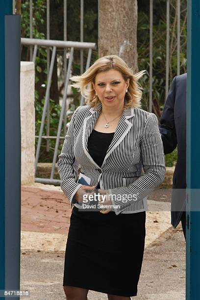 Sara Netanyahu, wife of Likud party head Benjamin Netanyahu, arrives at a local school to vote in the general elections February 10, 2009 in...