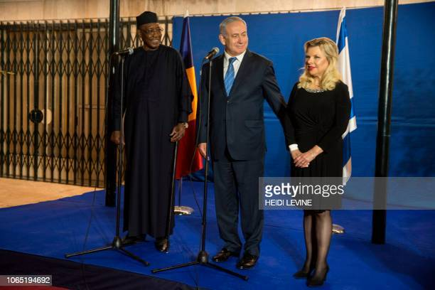 Sara Netanyahu wife of Prime Minister Benjamin Netanyahu speaks before she and her husband receive Chadian President Idriss Deby for a dinner at the...