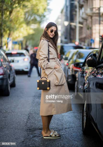 Sara Nicole Rossetto wearing a trench coat is seen outside Marni during Milan Fashion Week Spring/Summer 2018 on September 24 2017 in Milan Italy
