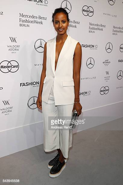 Sara Nuru dressed by Peek Cloppenburg attends the 'Designer for Tomorrow' show during the MercedesBenz Fashion Week Berlin Spring/Summer 2017 at...