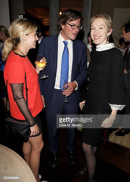 Sara Parker Bowles Harry Lopes and Justine Picardie attend a cocktail party hosted by new EditorinChief of Harper's Bazaar UK Justine Picardie Manolo...