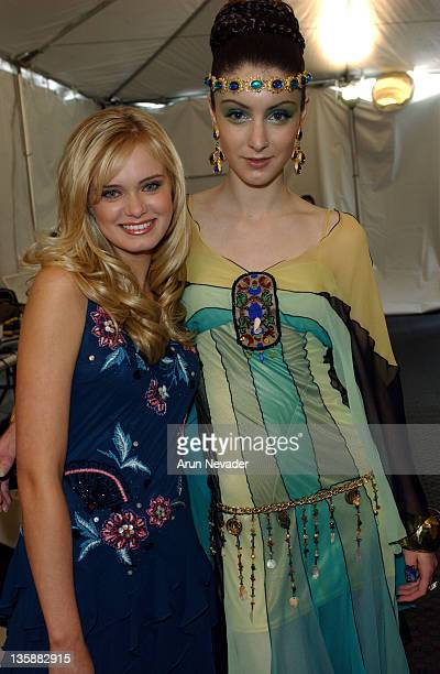 Sara Paxton with wodel wearing Sue Wong Spring 2005 Collection