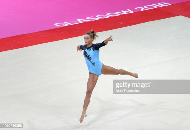 Sara Peter of Hungary competes in the Floor Exercise discipline during the Women's Gymnastics Team Final on Day three of the European Championships...