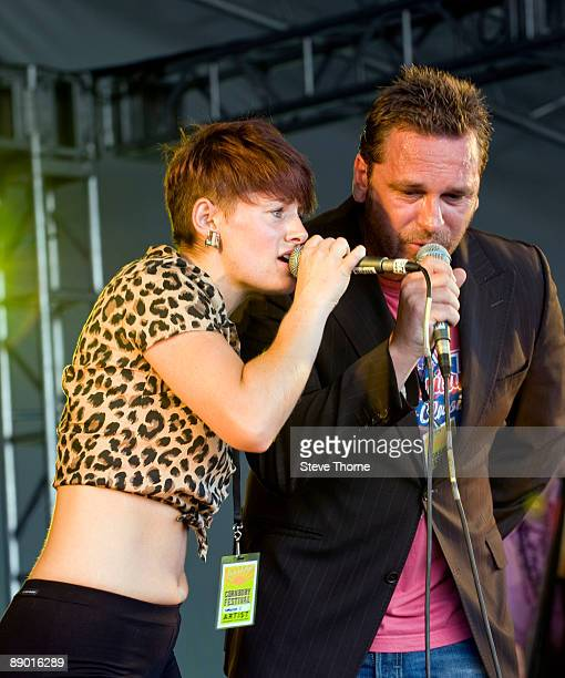 Sara Petterson and Jamie Wortley of Kingsize Five perform on stage on the first day of Cornbury Festival on July 11 2009 in Cornbury Park Charlbury...