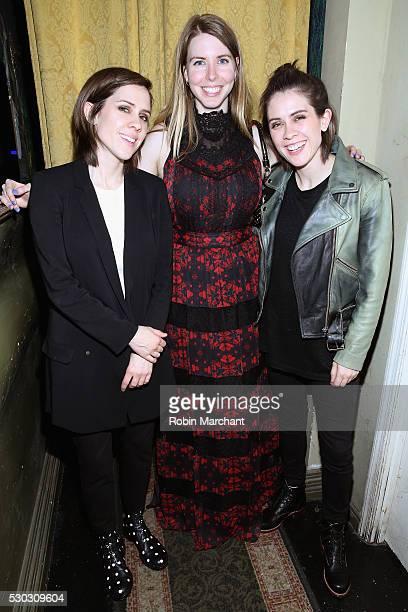 Sara Quin Amanda Taylor and Tegan Quin pose backstage at izo at 2016 Digital Content NewFronts on May 10 2016 in New York City