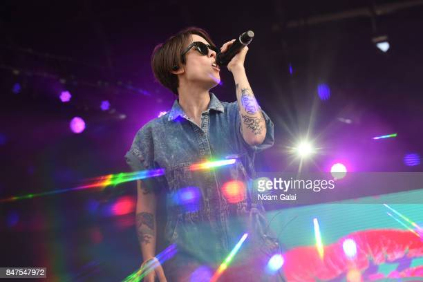 Sara Quin of Tegan and Sara performs onstage during the Meadows Music And Arts Festival Day 1 at Citi Field on September 15 2017 in New York City