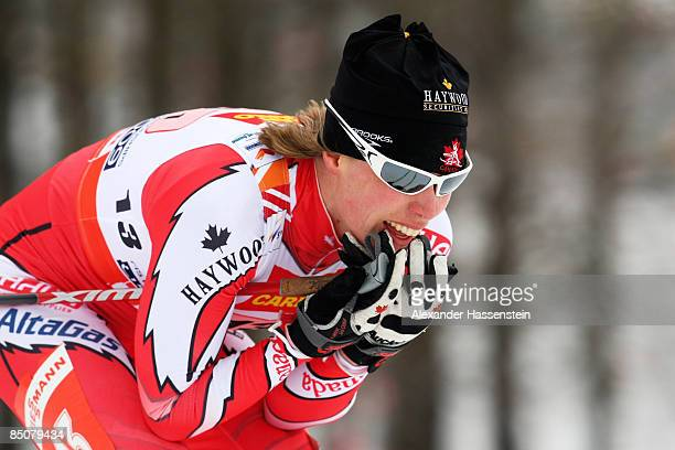 Sara Renner of Canada competes during the Ladies Cross Country Team Sprint at the FIS Nordic World Ski Championships 2009 on February 25 2009 in...
