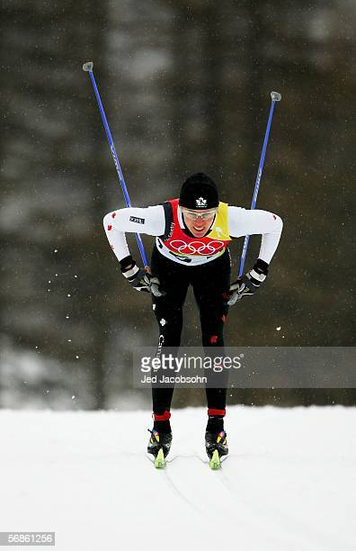 Sara Renner of Canada competes in the Womens Cross Country Skiing 10km Interval Start Final on Day 6 of the 2006 Turin Winter Olympic Games on...