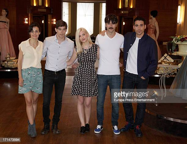 Sara Rivero Adrian Lastra Miriam Giovanelli Javier Rey and Miguel Angel Silvestre are seen on set filming 'Galerias Velvet' on June 24 2013 in Madrid...
