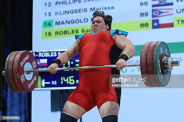 Sara Robles competes in the women's 75kg clean and jerk weight class at the USA Olympic Team Trials for weightlifting at the Calvin L Rampton...