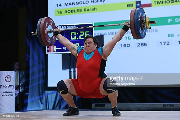 Sara Robles competes in the women's 75kg snatch weight class at the USA Olympic Team Trials for weightlifting at the Calvin L Rampton Convention...