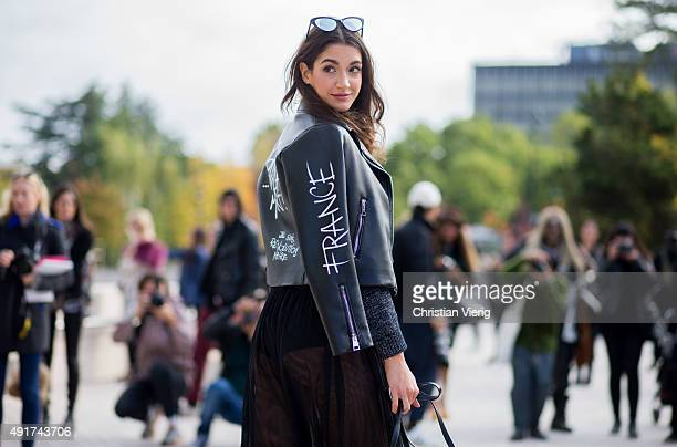 Sara Rossetto wearing Gaelle jacket Spektre glasses at Louis Vuitton during the Paris Fashion Week Womenswear Spring/Summer 2016 on Oktober 7 2015 in...