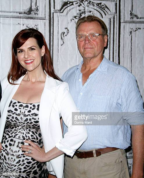Sara Rue and David Rasche pose before discussing 'Impastor' during the AOL Build Series at AOL Studios In New York on July 13 2015 in New York City