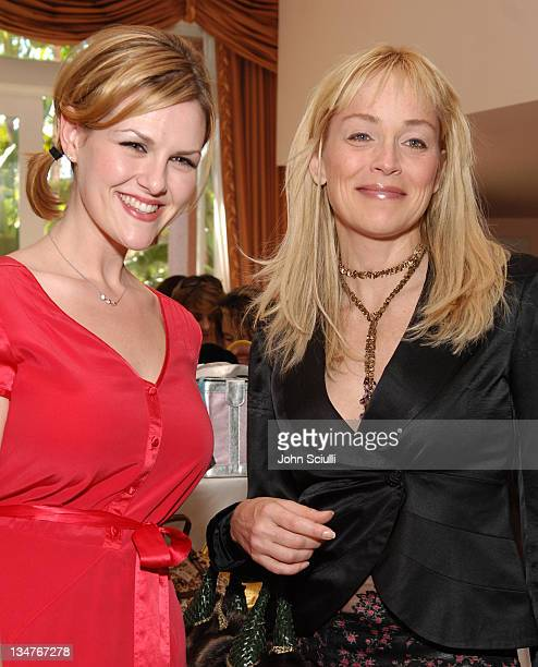 Sara Rue and Sharon Stone during 3rd Annual Hollywood Bag Ladies Lupus Luncheon at Beverly Hills Hotel in Beverly Hills California United States