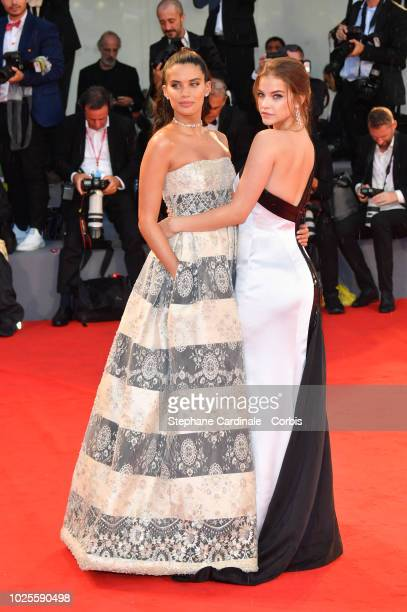 Sara Sampaio and Barbara Palvin walk the red carpet ahead of the 'A Star Is Born' screening during the 75th Venice Film Festival at Sala Grande on...