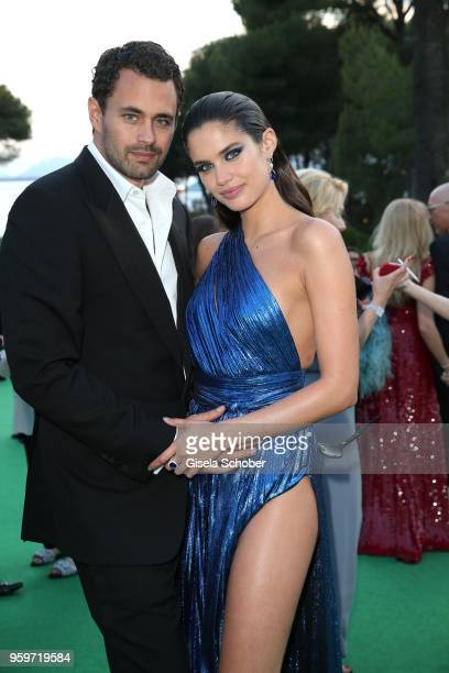 Sara Sampaio and her boyfriend Oliver Ripley during the cocktail at the amfAR Gala Cannes 2018 at Hotel du Cap-Eden-Roc on May 17, 2018 in Cap...