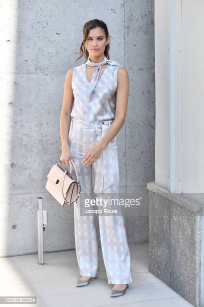 Sara Sampaio arrives at the Giorgio Armani show during Milan Fashion Week Spring/Summer 2019 on September 23 2018 in Milan Italy